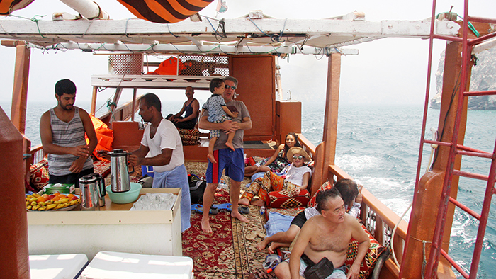 Relaxing on a Dhow