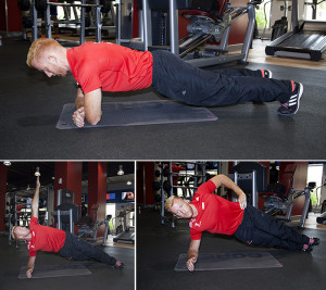 Side plank rotation with hip lift
