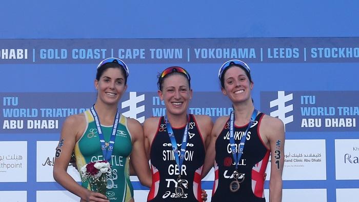 Jodie Stimpson Leading Lady at ITU World Triathlon Abu Dhabi