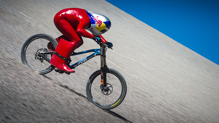In the latest Red Bull Challenge: Markus 'Max' Stöckl hits a Top Speed of 167.6km/h on a Standard Mountain Bike
