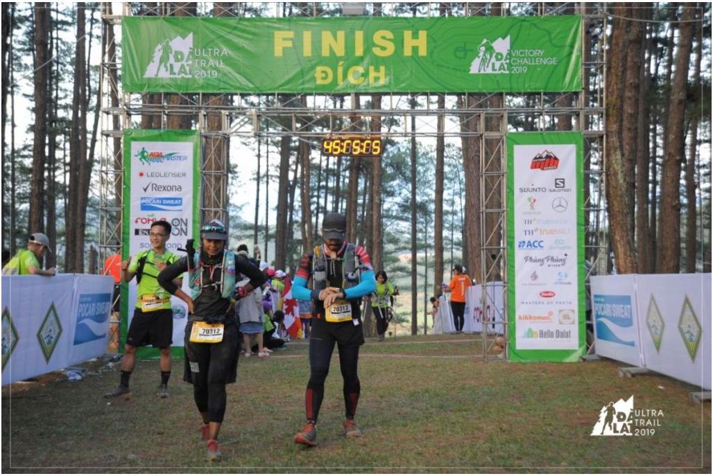 Dalat Ultra 2019 70km Finishers – writer and Mr E Picture Courtesy of Dalat Ultra Trail
