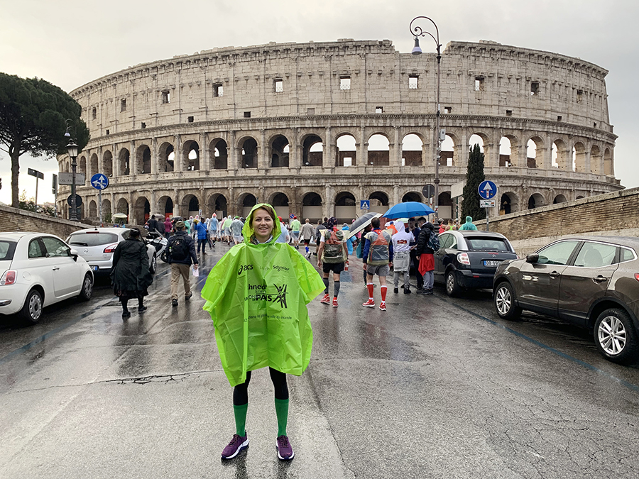 Olya the Realist in her poncho before the Start