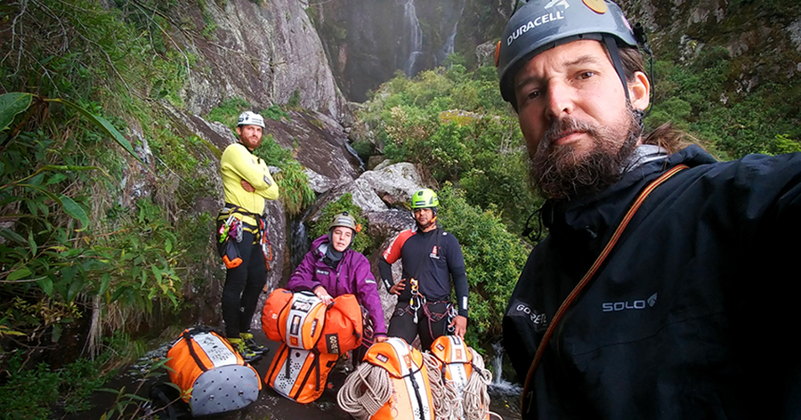 The 115 kilos of cargo used in the 10 days of the Canyoning expedition, one of the biggest explorations of waterfalls of the World - Márcio Bortolusso