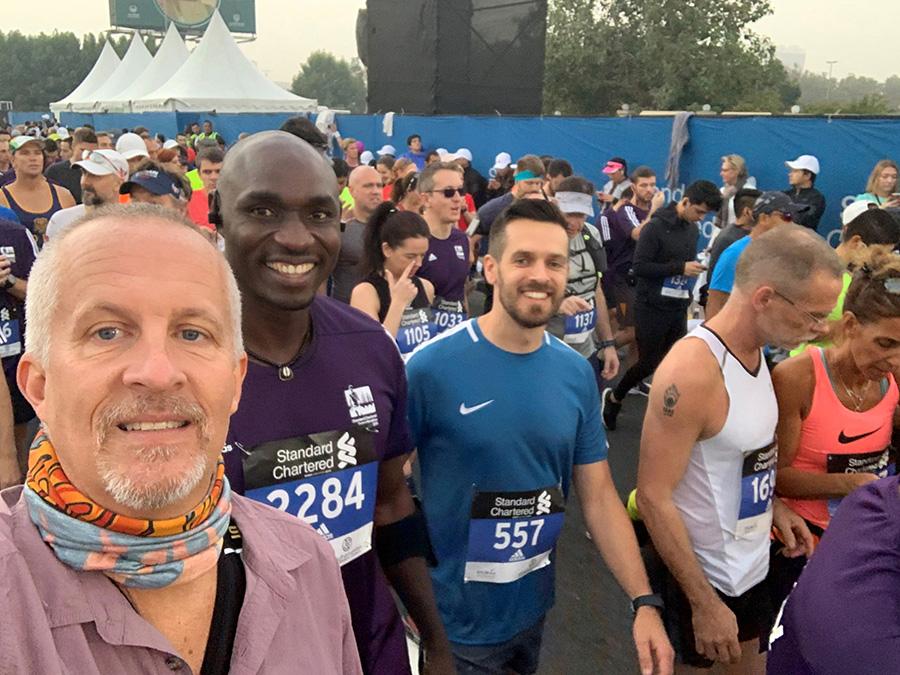With David T and John O before the Dubai Start